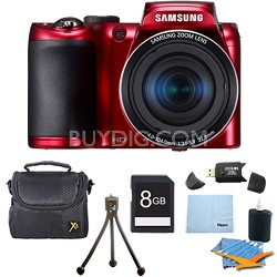 WB100 16MP 26x Optical Zoom Red Digital Camera Plus 8 GB Memory Bundle