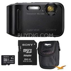 DSC-TF1 16 MP Water, Freeze, and Shockproof Digital Camera Black Kit