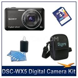 Cyber-shot DSC-WX5 Digital Camera (Black) with 4GB Card, Case, More