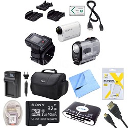 HDR-AS200VR/W Action Cam Kit with Live View Remote Deluxe Bundle