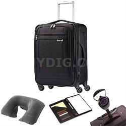 """SoLyte 20"""" Expandable Spinner Carry On Suitcase 73850-1041 Black w/ Travel Kit"""