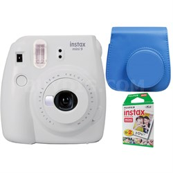 Instax Mini 9 Instant Camera - Smokey White w/ Case + 2-Pack Instant Film