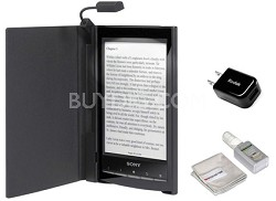 PRS-T1 6 inch Digital eReader (Black) BUNDLE w Case, Light, USB Adapter, Cleaner