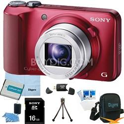 Cyber-shot DSC-H90 16.1 MP 16x Optical Zoom HD Video Camera (Red) 16GB Bundle