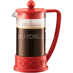 Brazil 3 Cup French Press Coffee Maker - 12 oz Glass Carafe (Red)