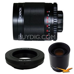 500M / 1000mm f/8.0 Mirror Lens for Canon EOS with 2x Multiplier