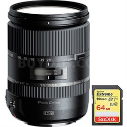 28-300mm F/3.5-6.3 Di VC PZD Lens for Canon w/ Lexar 64GB Class 10 Memory Card
