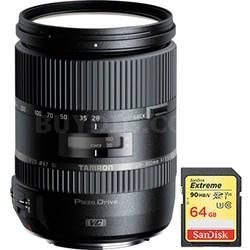 28-300mm F/3.5-6.3 Di VC PZD Lens for Canon w/ Sandisk 64GB Memory Card