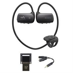 4GB Bluetooth Sports Wearable MP3 Player - Black w/ 32GB Flash Drive Bundle
