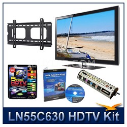 "LN55C630 55"" HDTV + Flat Mount + Hook-Up + Power Protection + Calibration DVD"