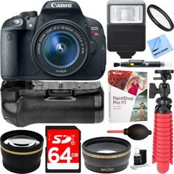 T5i EOS Rebel DSLR Camera w/ EF-S 18-55mm Lens + Battery Grip & 64GB Memory Kit
