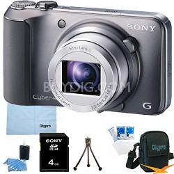 Cyber-shot DSC-H90 16.1 MP 16x Optical Zoom HD Video Camera (Silver) 4GB Bundle