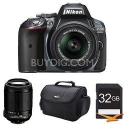 D5300 DX-Format Digital SLR Kit (Grey) w/ 18-55mm DX & 55-200mm VR Lens Bundle