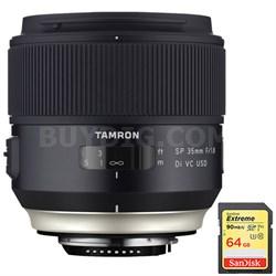 SP 35mm f/1.8 Di VC USD Lens f/ Canon EOS Mount (AFF012C-700) w/ 64GB Memory Car