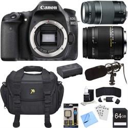 EOS 80D 24.2 MP CMOS Digital SLR Camera Bundle w/ 18-250mm + 50mm Lenses