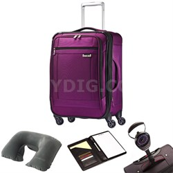 "SoLyte 25"" Expandable Spinner Upright Suitcase Purple 73851-4895 w/ Travel Kit"