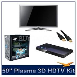 """PN50C8000 - 50"""" 3D 1080p Plasma HDTV Kit w/ 3D Glasses & Blu-Ray Player"""
