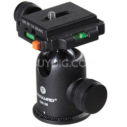 SBH-50 Ball Head with Quick Release & Two Bubble Levels, Supports 13 lbs.