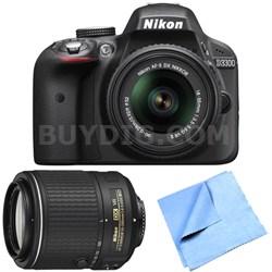 D3300 24.2MP DSLR w/ 18-55mm and 55-200mm Dual VR II Lens Bundle - Refurbished