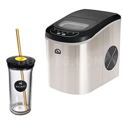 Compact Ice Maker (Stainless Steel) w/ Keurig Iced Beverage Tumbler Bundle