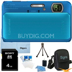 Cyber-shot DSC-TX20 16.2 MP Waterproof Shockproof (Blue) 4GB Bundle
