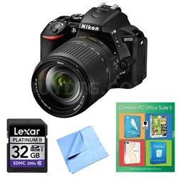 D5500 Black DSLR Camera 18-140mm Lens, PC Office Suite 5 and 32GB Bundle