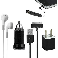 5-in-1 Travel Kit for iPhone 4/4S and 4th Generation iPods - Black