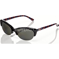 Black Frame with Colorful Striped Arm with Grey Lens Sunglasses