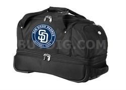 MLB 22-Inch Drop Bottom Rolling Duffel Luggage, Black - San Diego Padres
