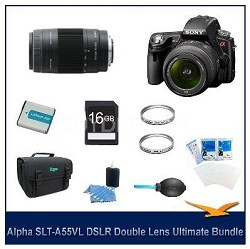 Alpha SLT-A55 DSLR Kit w/ Sony 18-55mm 75-300mm Lenses Ultimate Bundle