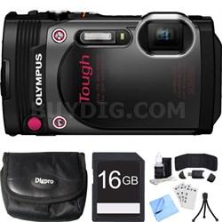 TG-870 Tough Waterproof 16MP Black Digital Camera 16GB SDHC Memory Card Bundle