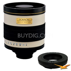 800mm F8.0 Mirror Lens for Canon EOS (White Body) - 800M + T2-EOS