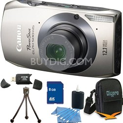 PowerShot ELPH 500 HS Silver Digital Camera 8GB Bundle
