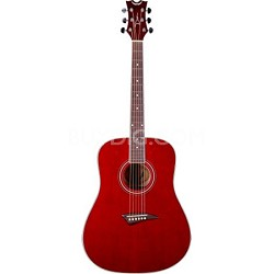AK48TRD Tradition Acoustic Guitar, Trans Red with Hardshell Case