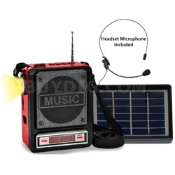 Solar Rechargeable Bluetooth Speaker with Wired Headset Mic & LED Torch Light
