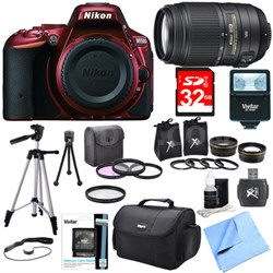 D5500 Red Digital SLR Camera, 55-300 Lens, Lens Set, and Flash Bundle