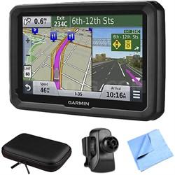 """dezl 570LMT 5"""" Truck GPS Navigation Lifetime Map/Traffic Vent Mount/Case Bundle"""