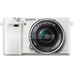 Alpha a6000 White Interchangeable Lens Camera with 16-50mm - OPEN BOX