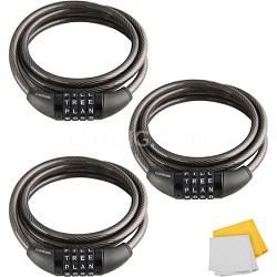 CL-422-BK 4-Dial Cable Combination Lock 3-Pack (Black, 6-Feet)