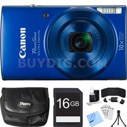 PowerShot ELPH 190 IS Blue Digital Camera w/ 10x Optical Zoom 16GB Card Bundle