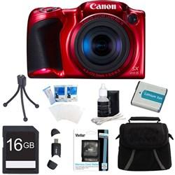 Powershot SX410 IS 20MP 40x Optical Zoom 720p HD Red Digital Camera 16GB Bundle