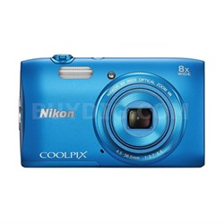 "COOLPIX S3600 20.1MP 2.7"" LCD Digital Camera  HD Video -Blue Factory Refurbished"
