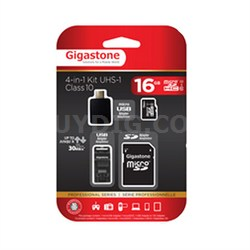 MicroSD 16GB C10 U1 Memory Card With 3 Adapters