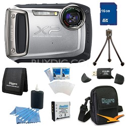 Finepix XP100 14MP CMOS Digital Camera 16 GB Bundle (Silver)