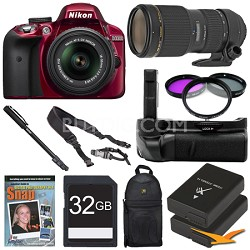 D3300 DSLR HD Red Digital Camera Wildlife Photographer Bundle