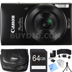 PowerShot ELPH 190 IS Black Digital Camera w/ 10x Optical Zoom 64GB Card Bundle