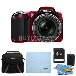 COOLPIX L810 16.1 MP 3.0-inch LCD Digital Camera 4GB Red Bundle