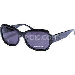 Black Sunglasses with Grey Lens and SR Rhinestone Signature