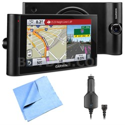"dezlCam LMTHD 6"" GPS Truck Navigator w/ Dash Cam Vehicle Power Cable Bundle"