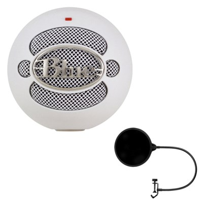 Snowball USB Microphone  Textured White - 4911-SBBN w/ Pop Shield Wind Screen